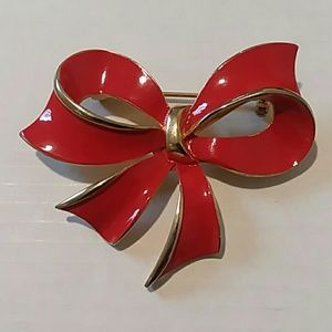 Red and Gold Christmas Bow Pin Brooch